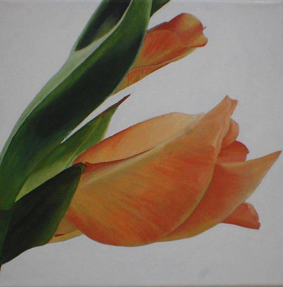 Small Wall Art Orange Gladiolus Flower Bud Macro Acrylic http://dld.bz/gvAUh #orange #flowers #macro #painting