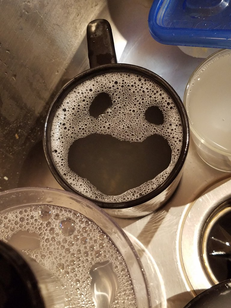 The dishes don't like being in the sink any more than I like them being there.