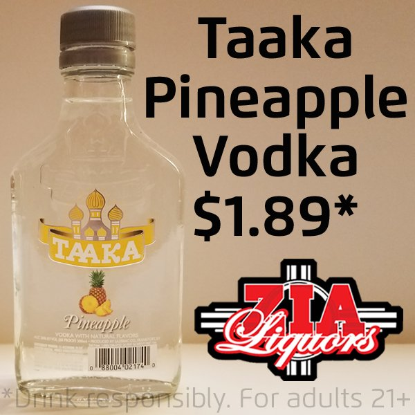 Hurry in and save on Taaka, flavored vodka! On sale now. https://t.co/CHTwgFVpIu #Taaka #TaakaVodka #VodkaSale #FlavoredVodka #Pineapple #PineappleVodka #DiscountVodka #LiquorStores #NearHere #LiquorStore NearMe #Farmington #Shiprock #Gallup #LowestPrice #CheapVodka #OnSale #Zia https://t.co/gJ1BPGHZkF