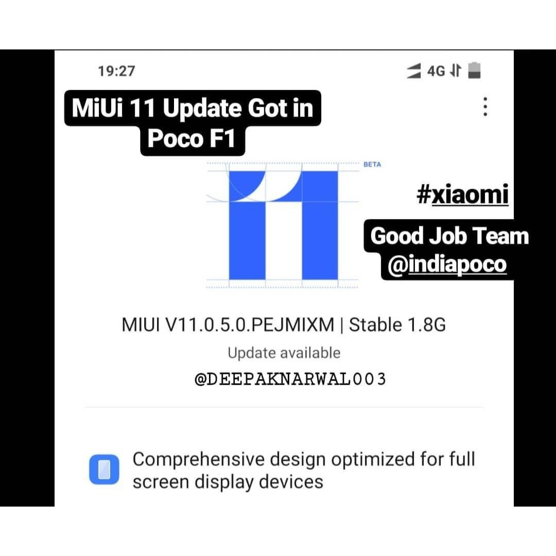 #MIUI11 Latest #MiUi  Rollout started for #Pocof1 Good Job #Xiaomi  Team #deepaknarwal