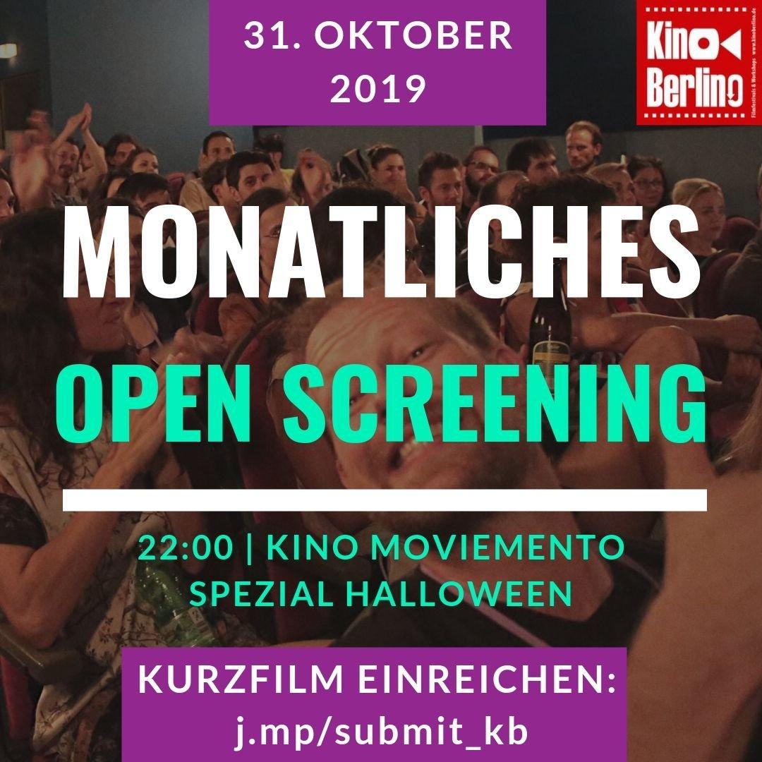 Am Donnerstag, 31.10. feiern wir um 22 Uhr wieder Eure #Filmpremieren im ältesten Kino Deutschlands, dem #Moviemento in Kreuzberg. Reicht flink eigene Arbeiten ein unter: https://j.mp/submit_kb - Diesmal können es gerne #Halloween-Themen sein. #openscreening #kinoberlino pic.twitter.com/YP6jQXBZai