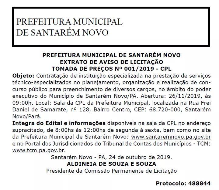 A Prefeitura Municipal de Santarém Novo, Estado do #Pará, tornou pública a realização de licitação para a contratação de empresa organizadora de concurso público.  #SantarémNovo #Licitação #Concurso #Notícia #EstadoDoPará #Prefeitura #PrefeituraMunicipal