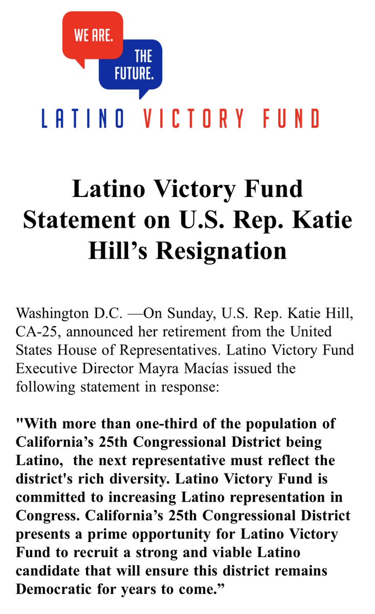 """.@latinovictoryus on Rep. Katie Hill's resignation: """"... #CA25 presents a prime opportunity for Latino Victory Fund to recruit a strong and viable Latino candidate that will ensure this district remains Democratic for years to come."""" More 👇🏾"""