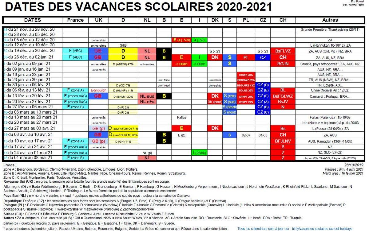 Calendrier Vacances Scolaires Européennes 2021 Eric Bonnel (@ebonnel) | Twitter