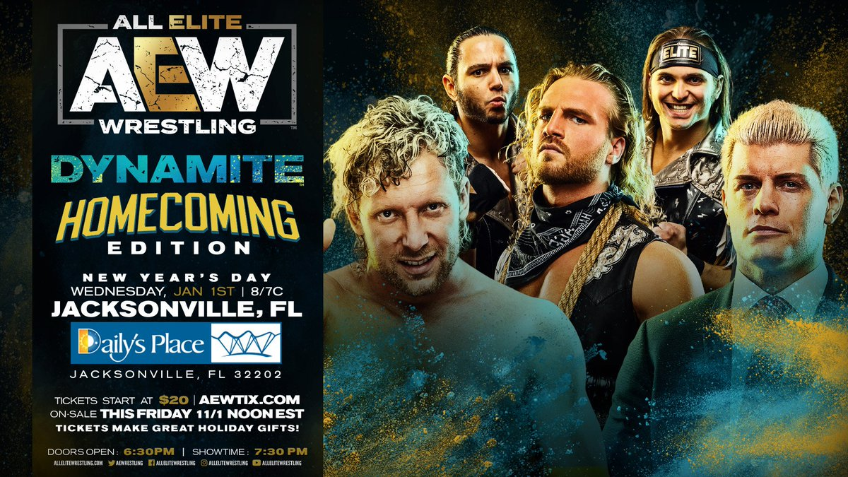 "AEW Announces ""Homecoming Edition"" Of AEW Dynamite From Jacksonville, FL. On 1/1/2020"