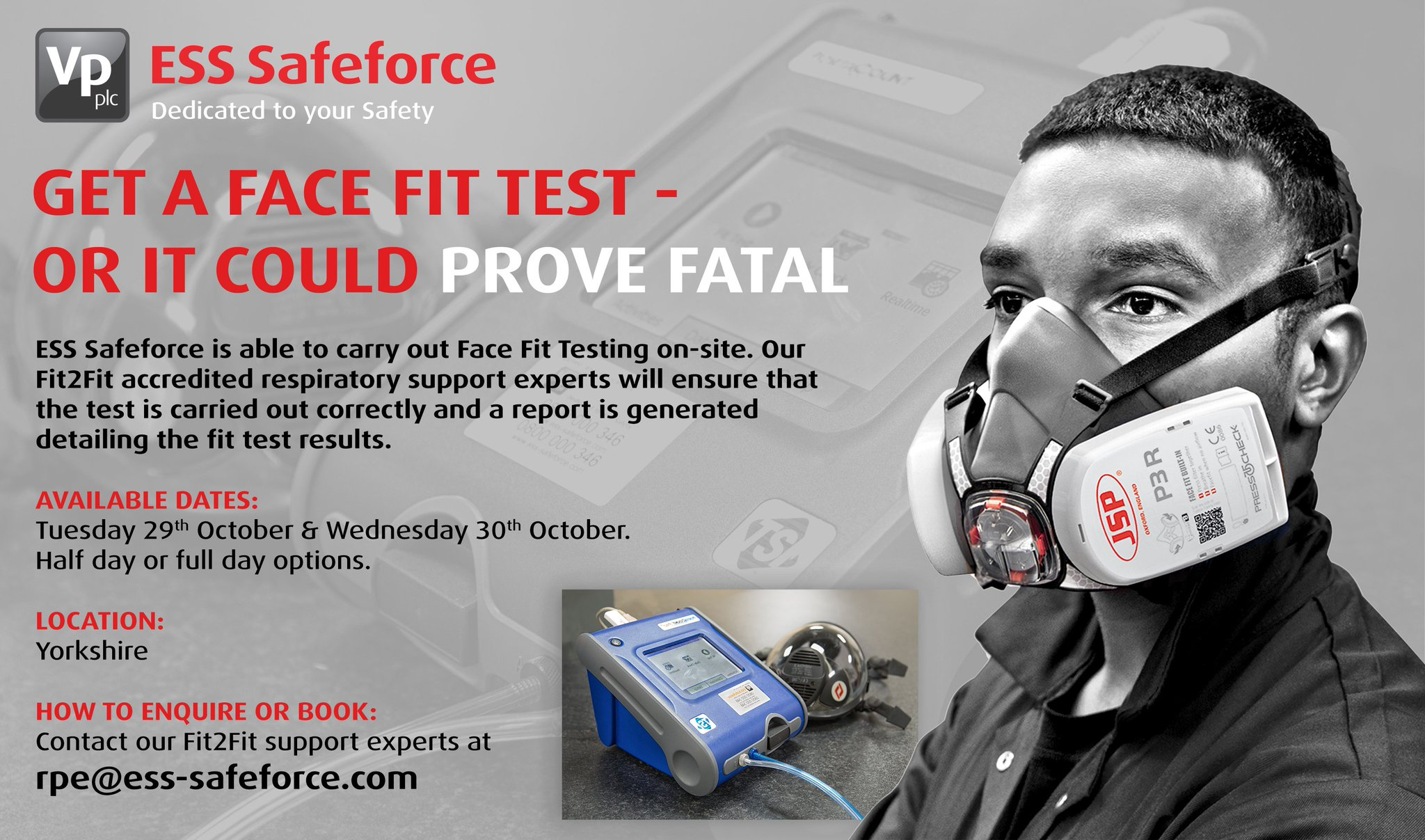 """ESS Safeforce on Twitter: """"Book a Face Fit Test today or it could prove  fatal! If you're based in #Yorkshire and require a Face Fit Test on Tuesday  29th October or Wednesday"""
