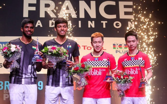 ImageSatwik and Chirag on the podium at French Open Super 750