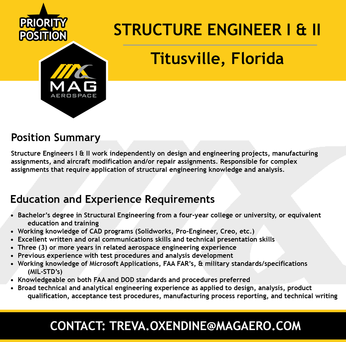 Mag Aerospace On Twitter Mag Aerospace Has Two Priority Positions Available Both Based At Our Titusville Florida Office Click The Links Below To Apply Structure Engineer I Https T Co Xpy1kstfyk Structure Engineer Ii Https T Co 3xiysvfm8i