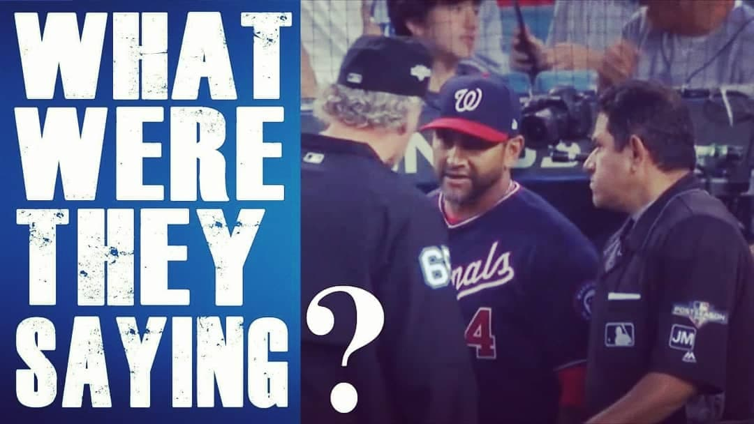 What do coaches/players say to umpires? In this vid @BrianRHertzog follows up on a question Ernie Johnson & Jeff Francoeur were pondering during the #Dodgers/#Nationals #NLDS Game 5... what were the #umpires talking about w/ Mgr Dave Martinez? #nldsgame5