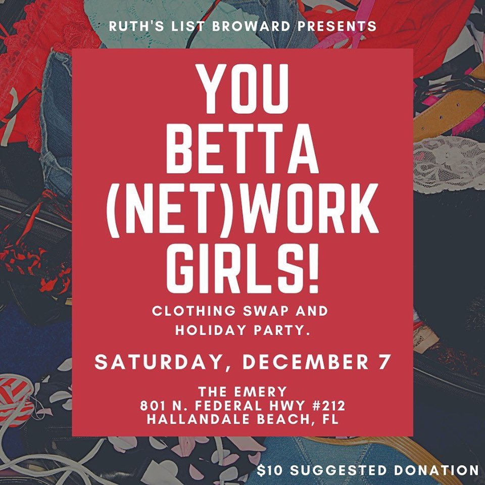 Join us 12.7 for our @ruthlistbroward clothing swap & holiday party! #sustainableandstylish #ShesTheChange RSVP: https://act.myngp.com/Forms/-6485174276739234048…