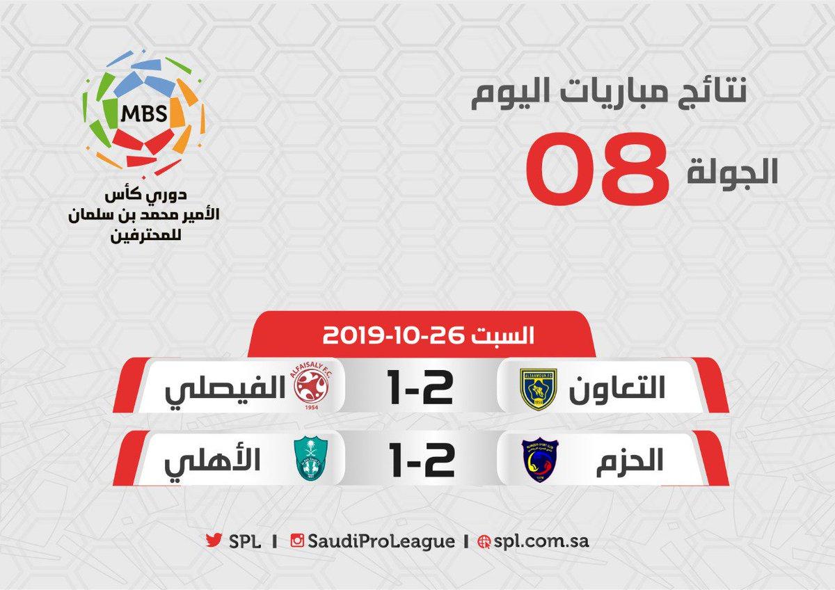 الدوري السعودي للمحترفين S Tweet مباراتان 6 أهداف