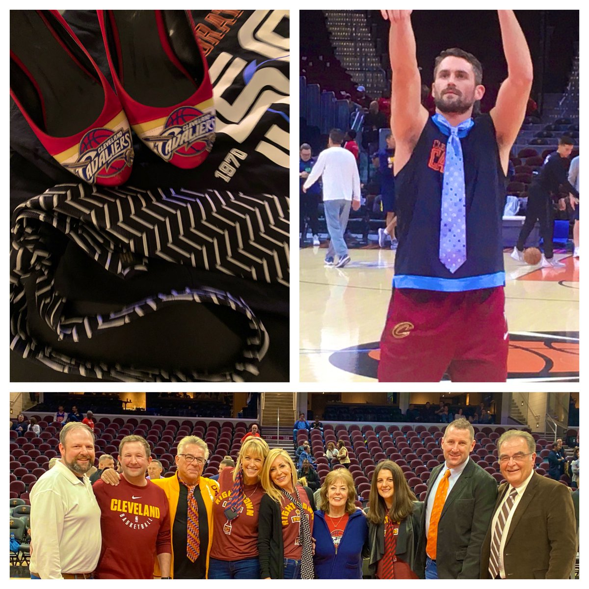 My new normal includes so many people. ❤️Ties 👔 everywhere!!! @kevinlove I couldn't even look up. ❤️ My heart was overflowing with emotion. @cavsdan & Jennifer- thank you @cavs @RMFieldHouse staff & security. It's so hard to move forward, but everyone 👍 & we won 🎉 Thank you