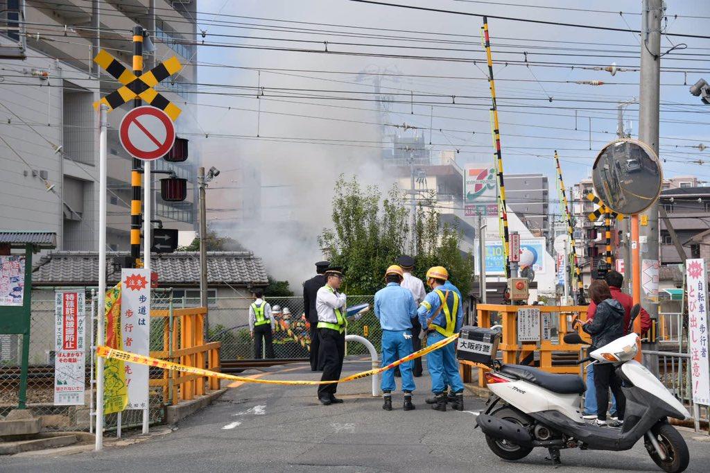 正雀駅付近の住宅で沿線火災が起きた現場の画像