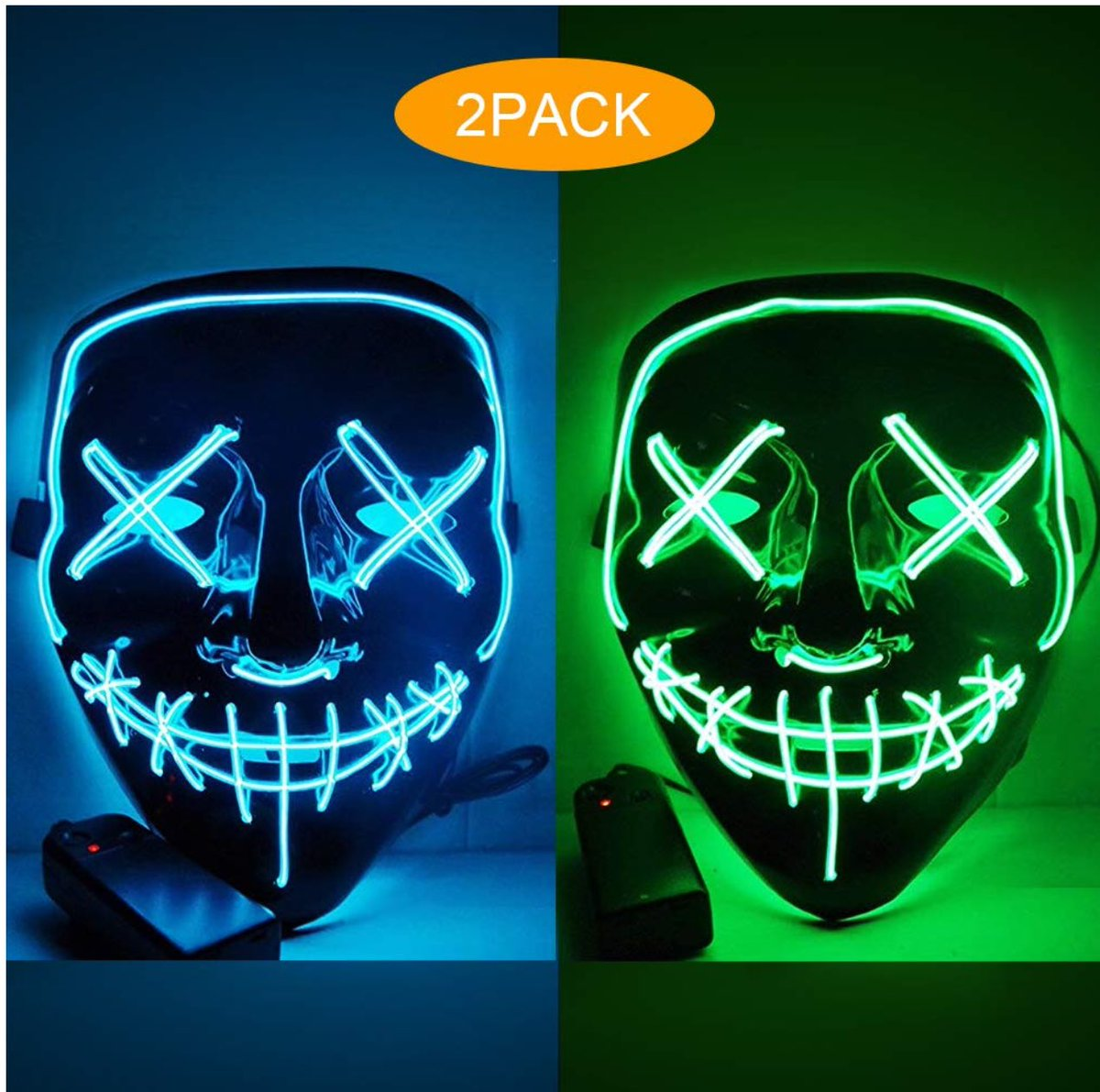 3-Modes Halloween Scary Mask Cosplay Led Light Up Costume Mask The Purge Movie