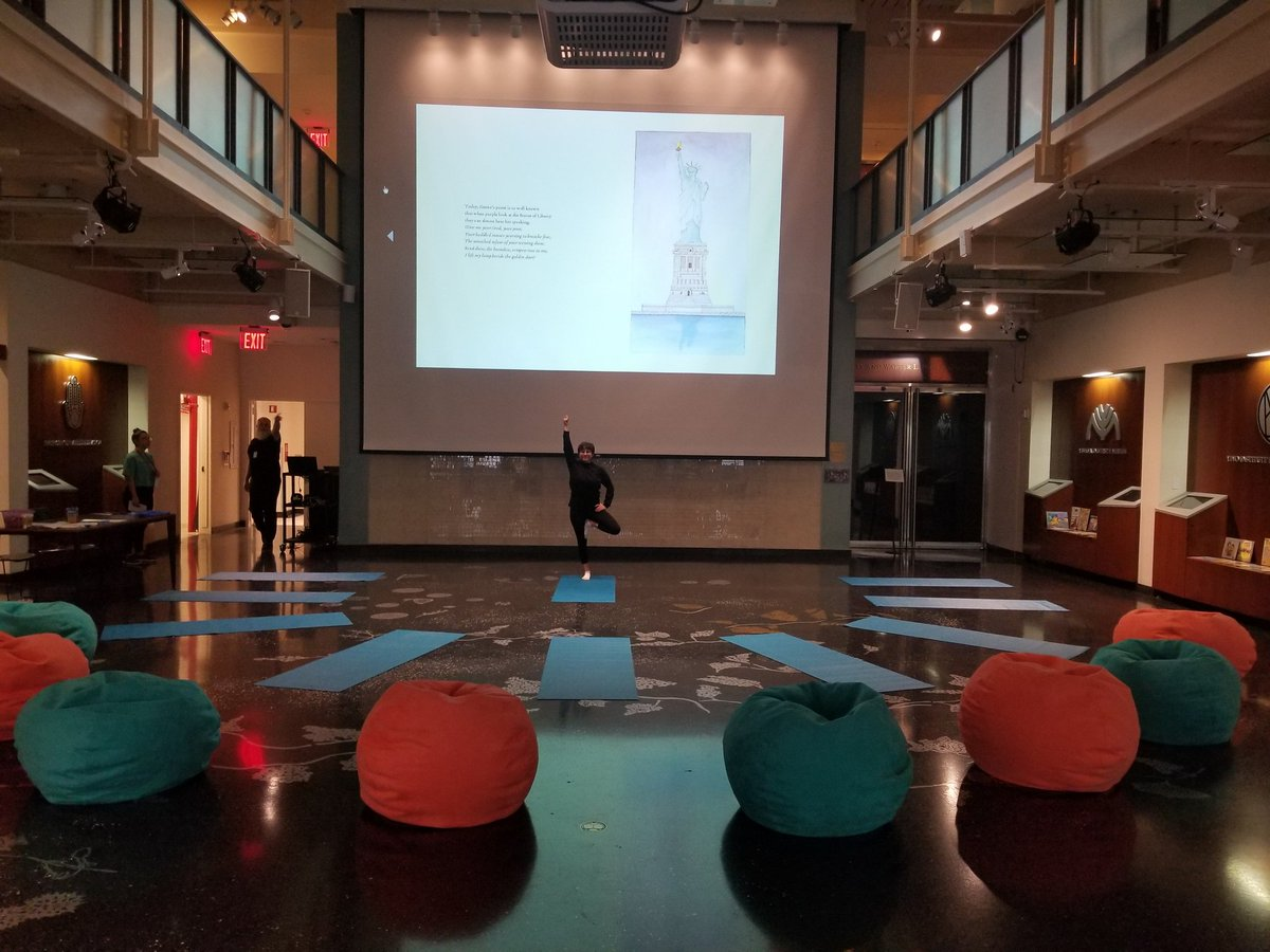 Getting set for soapbox and statue of liberty yoga family program at @AJHSNYC! Pose and Prose with @PJLibrary