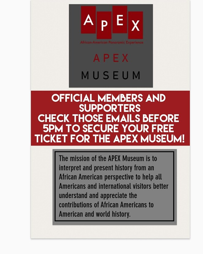 Secure your FREE ticket to the  #APEXMuseum !  Black Power Book Club celebrates #BlackHistoryMonth all year long!   #BlackHistoryMonth365 #BlackTwitter  #BlackTwitter365 #GeorgiaStateUniversity #GSU21 #GSU20 #GSU19 #GSU18