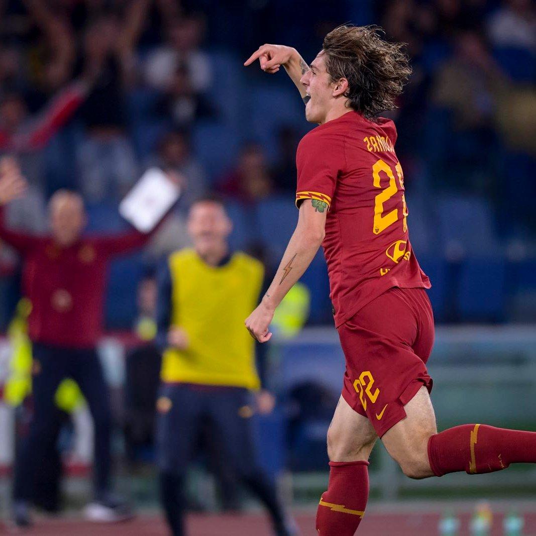 Nicolò Zaniolo festeja su gol ante el Milan / Fuente: AS Roma