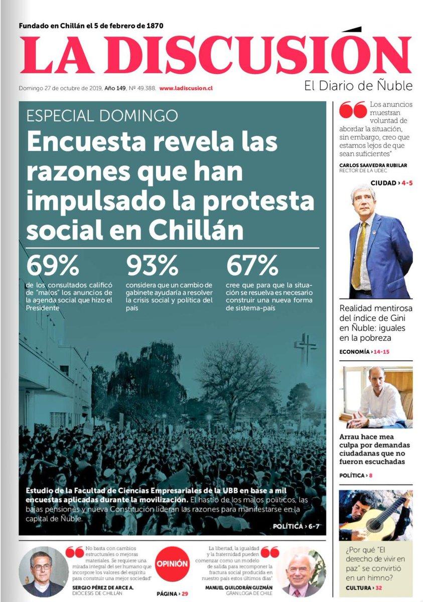 Hoy en @ladiscusioncl. Estudio de @faceubb revela las razones que han impulsado la protesta social en Chillán. @alvaroacuna01 @BenitoUmana @ubbchile https://t.co/btQfVDaJp3