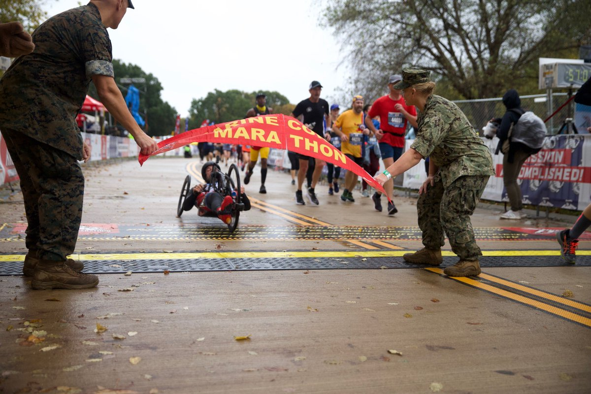 Congrats to today's 44th annual @Marine_Marathon 1st place finishers! Hand cyclist: Tom Davis, 42, unofficial finish time of 1:07:10. Male: Jordan Tropf, 27, unofficial finish time of 2:27:38. Female: Brittany Charboneau, 31, unofficial finish time of 2:44:42.