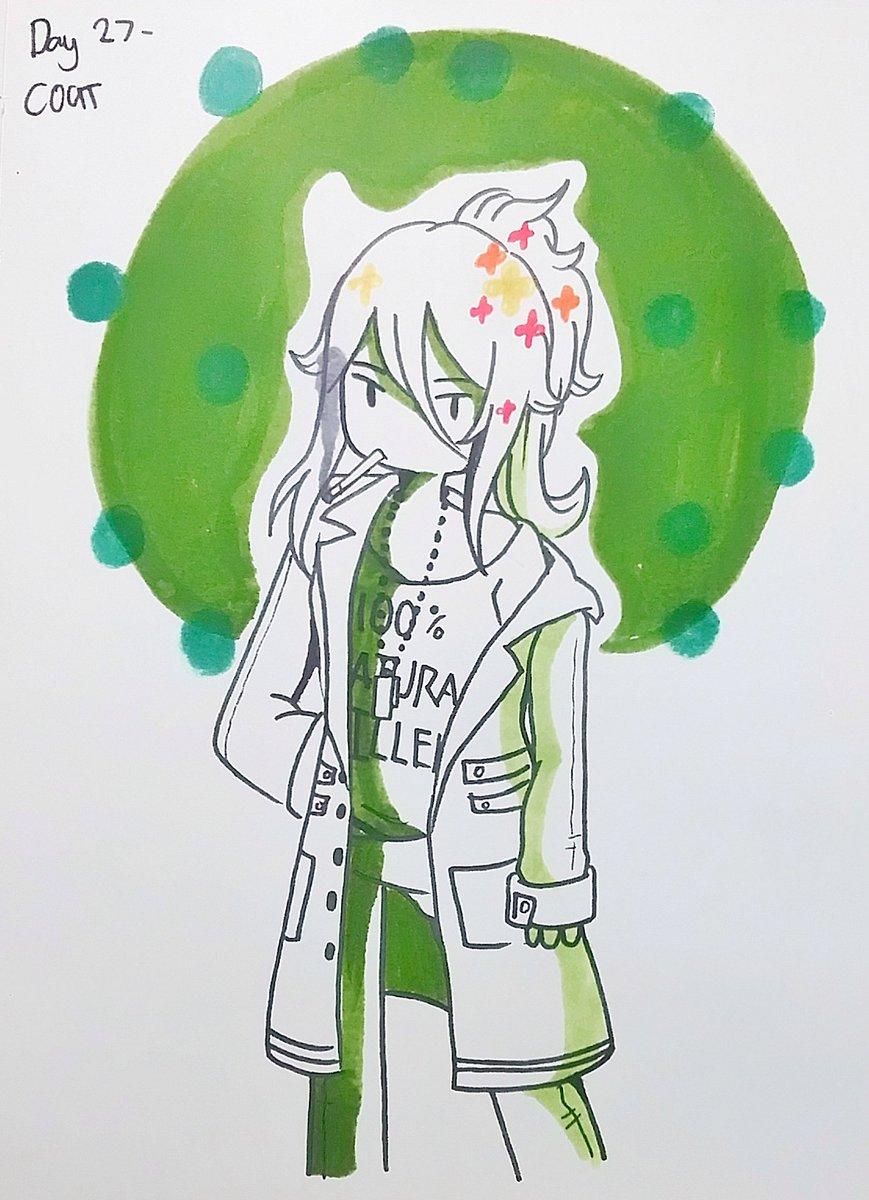 Inktober Doodle Day 27- Coat + Bonus Doodle  Smoking Fern is my thing now-  #AdventureTime #fernthehuman