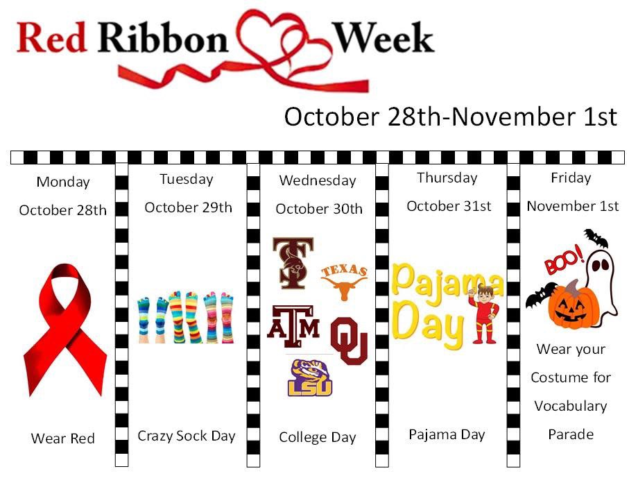Join us for Red Ribbon Week @ChapelHill_ISD @Carp_CHISD