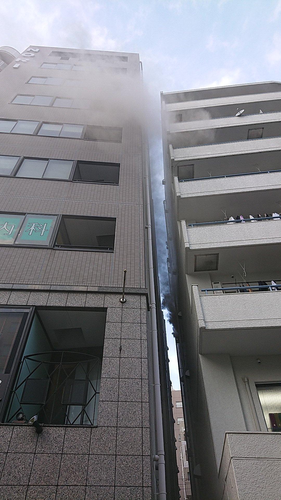 品川区南大井のアパートで火事が起きた現場の画像