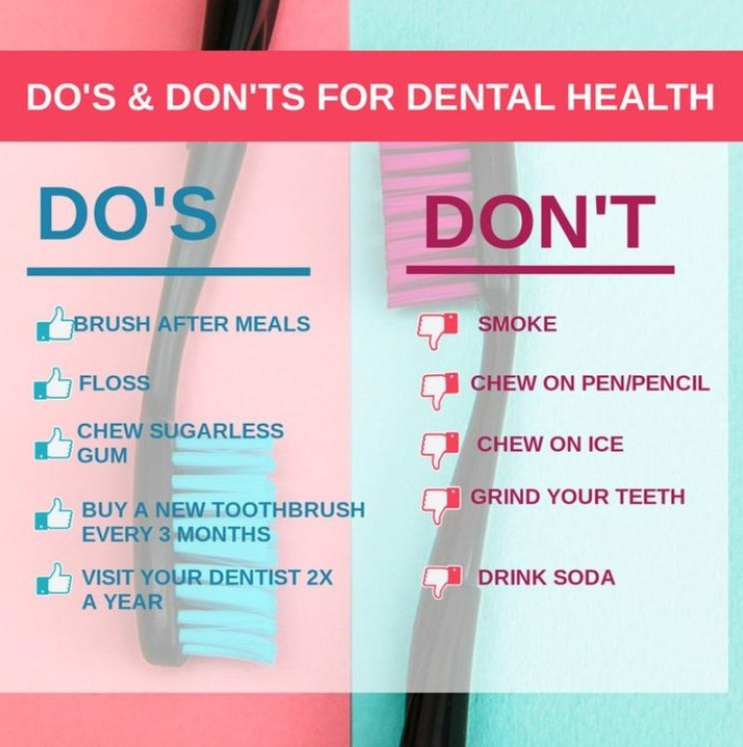 Follow these Do's and Don'ts and be on your way to a healthier you!  #admiredental #dentist #springfieldma #oralhealth #smile