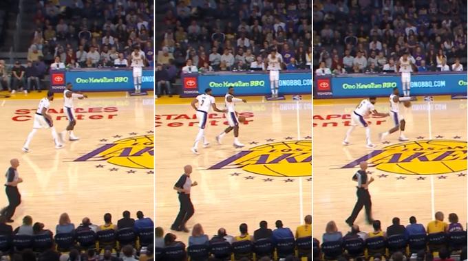 【影片】詹姆斯7秒沒過半場,一眉哥急如熱鍋螞蟻,直接上手「推腰」了!