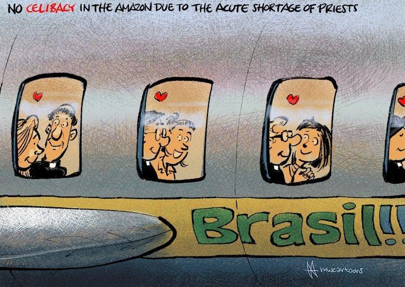#CatholicChurch stops #celibacy: too little #priests in #Amazon. @cartoonmovement @catholic_sf #Catholics @CartooningPeace @CatholicDaiIy  @CatholicRelief @CatholicNewsSvc @joop_nl @IgrejaCatolica  #celibacy #pope #papa #catolica @fasamazonas @popefranciscus #Amazonas #Brasil<br>http://pic.twitter.com/OIPEuoBnvW