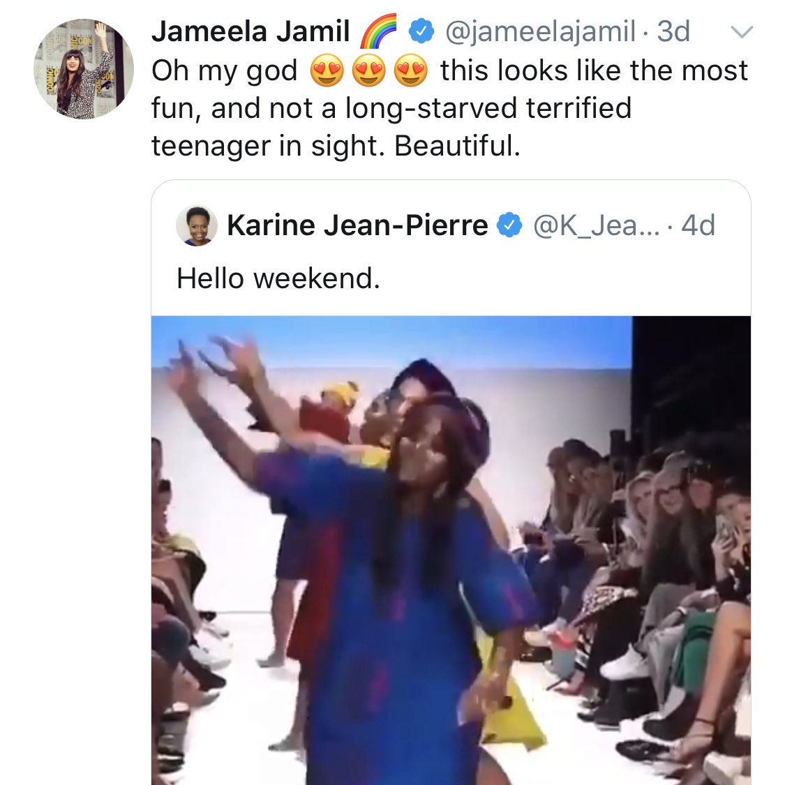 "Victoria's Secret angels Leomie Anderson and Sara Sampaio respond to Jameela Jamil's tweet where she referred to runway models as ""long-starved terrified teenager(s)""."