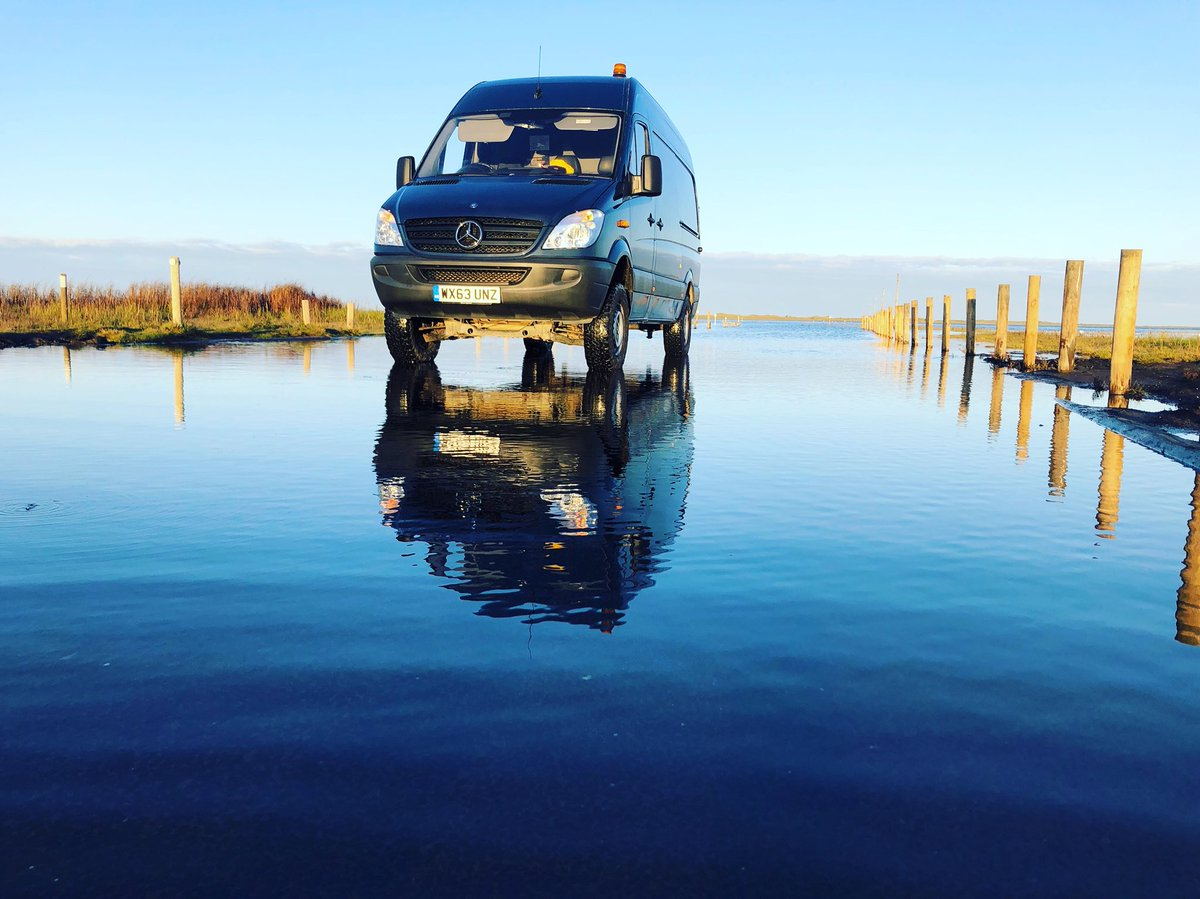 Seemingly the #Unimog #Sprinter holiday romance sort of worked... introducing the #Dakar support wagon 4x4 Sprinter. Called in at the beach on the way home from Scotland, the tide was in. #Paddle #Dakar2020 #WhatToCallAScottishSprinter<br>http://pic.twitter.com/HCDv5DcXEh
