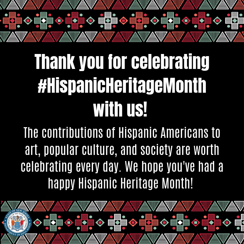 Thank you for celebrating #HispanicHeritageMonth with us!  The contributions of Hispanic and Latinx Americans to art, popular culture, and society are worth celebrating every day. We hope you've had a happy Hispanic Heritage Month! pic.twitter.com/gUas9gP4Xq