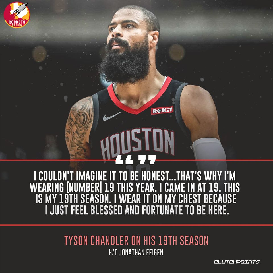 Not many players can play at the highest level in the world's toughest league for nearly two decades! Kudos, Tyson Chandler 👏  #Rockets #NBA