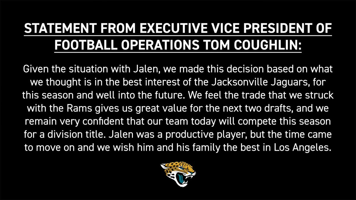 Statement from Executive Vice President of Football Operations Tom Coughlin.