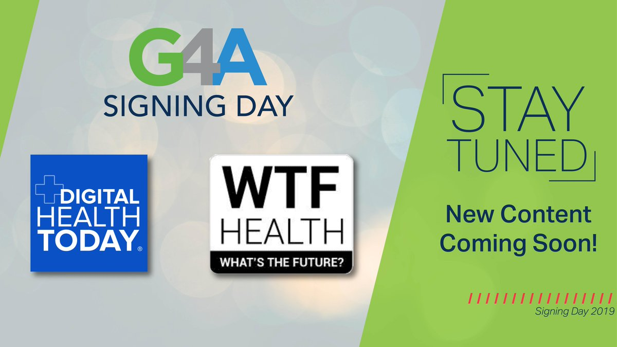 Sad you missed #G4A Signing Day this week? Don't worry! Stay tuned for feature content from @jessdamassa #WTFHealth and @healthtechdan @dhealthtoday in the coming weeks! https://t.co/mKccNxEdLu