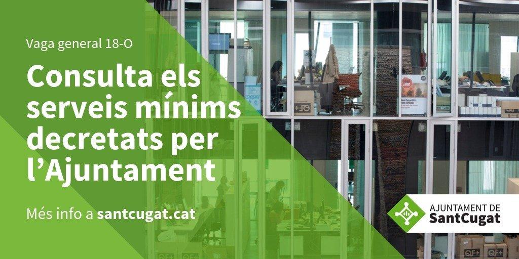 Atesa la convocatòria de vaga general per al proper divendres 18 d'octubre l'Ajuntament ha decretat els següents serveis mínims a #SantCugat 👉https://t.co/5T5LcFJExS