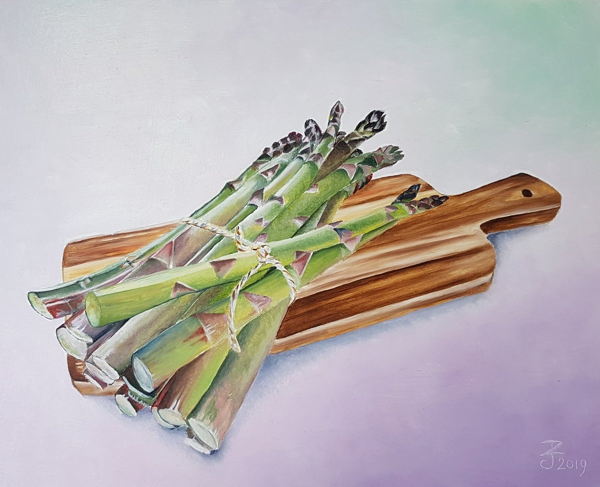 Oil on panel.  #asparagus #oilpainting #art #artist #artoftheday #artlover #artwork🎨#fineart #kunst #olieverfschilderij #asperges #fijnschilderen