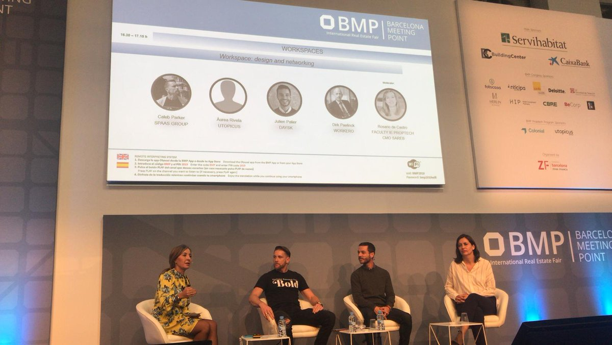 Round Table #DesignAndNetworking during @bmpsa #Proptech with @Caleb_Parker #SpaaSGroup @aureamadrid @utopic_us @jpalier @dayskapp moderated by @rosariodecastro @LaSalleTechnova