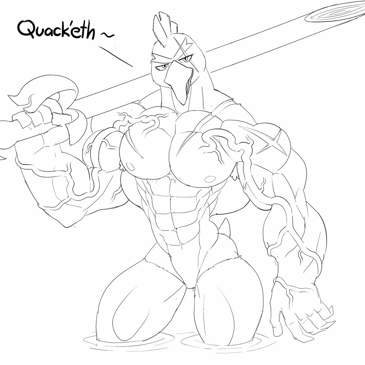 There's still room for JACKED DUCK, yes? :3Le Sketches#Sirfetchd #PokemonSwordShield #NSFW