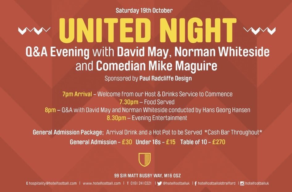 👇🏽 this Saturday night join us in OTSC for a night of food, drinks and football with @NormanWhiteside & @DavidMay04. To book, visit - hotelfootball.com/event/david-ma…