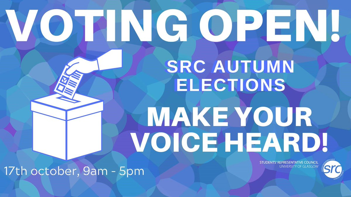The @gusrc Autumn Elections are open! 🗳️ You have until 5pm ( 17th Oct) to choose who will represent you throughout the year! 👫#gusrcelections  Vote now 👉 http://www.gla.ac.uk/vote