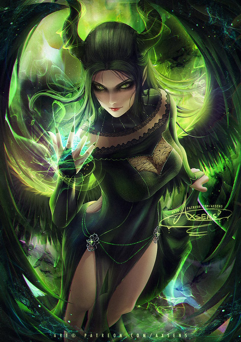 💚🖤Mistress Of Evil (#Maleficent2 )💚🖤 Dont ruin my morning... I would like to paint her appearance between the original movie and new movie with some of my touches. ❤️vid,steps,psd>patreon.com/axsens #art #anime