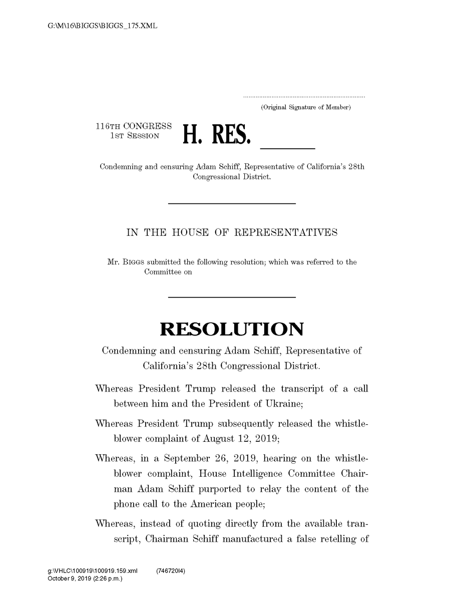 We are calling up a resolution that condemns Chairman Adam Schiff and the way he has abused his power to mislead the American people. Read the complete censure resolution here: