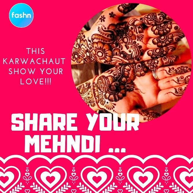 Show your love ❤ . 1.) Retweet this post and tag 5 people.  . 2.) Upload the image of your mehndi in the comments. . 3.) Get a chance to win a surprise gift/reward worth Rs. 599/- . Rules of the contest: http://bit.ly/32nXNUe . #FashnmeMehndiCompetition #fashnme #karwachaut