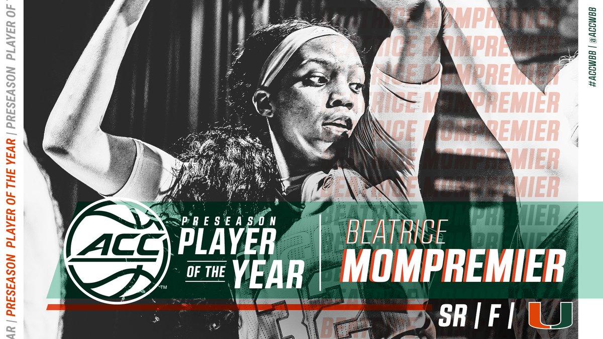 Beatrice Mompremier has been chosen as the #ACCWBB Preseason Player of the Year! 👉 theacc.co/wbbpreseason19