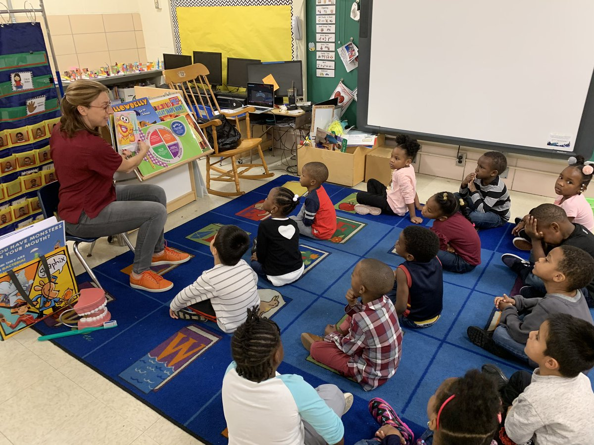 Brush brush brush your teeth, tell those germs so long! Learning how to keep ourselves healthy in pre-k 🦷