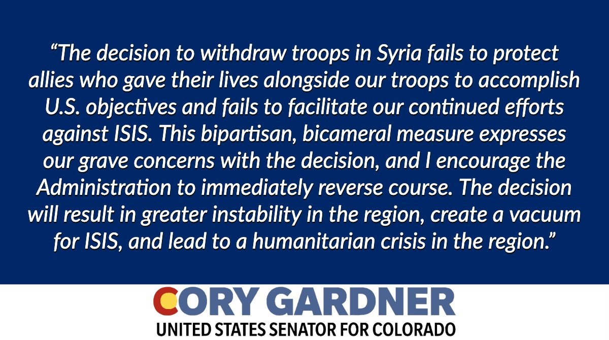 The House just passed a bipartisan measure that I'm helping lead in the Senate urging the Administration to reverse course in Syria. This decision is a grave mistake that'll result in more instability, create a vacuum for ISIS & lead to a humanitarian crisis. My full statement ⬇️