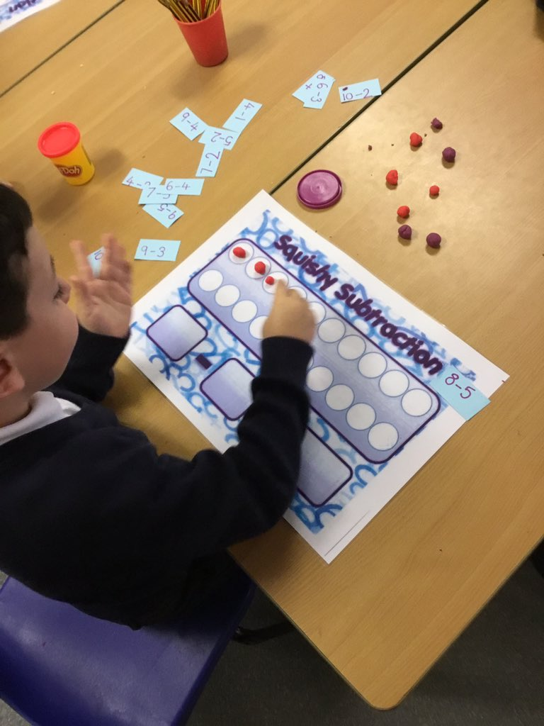 test Twitter Media - Squishy subtraction! We had a go at using play doh to help us with subtraction today. We made the number sentence by creating the biggest number out of play doh and then squishing the amount we were taking away! It helped us to visualise the subtracting 😃 #gorseymaths https://t.co/0tNYGON2YN