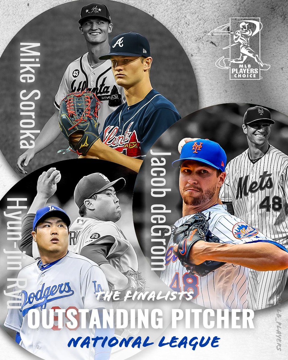 The National League #MLBPlayers have voted! Your 2019 Players Choice Awards NL Outstanding Pitcher finalists are @Mike_Soroka28, @JdeGrom19 & @HyunJinRyu99! #PlayersChoiceAwards2019 winners announced next week! mlbplayers.com/2019-outstandi…