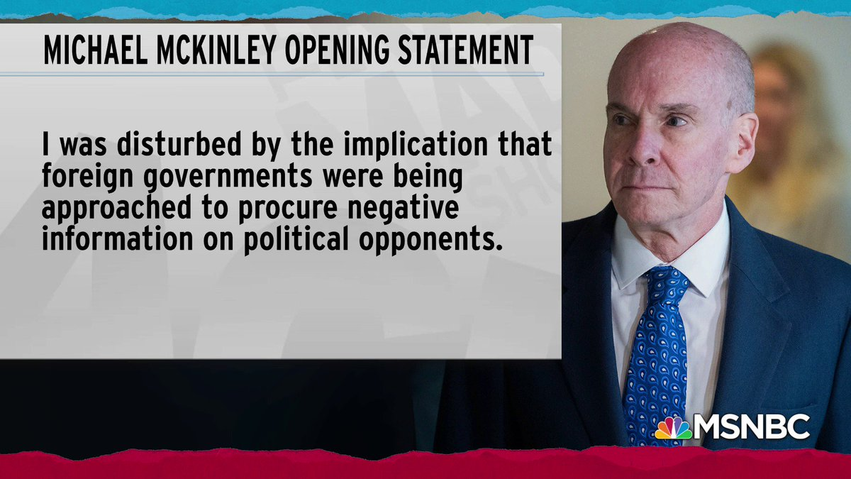 I was disturbed by the implication that foreign governments were being approached to procure negative information on political opponents. -Michael McKinley, former senior adviser to Mike Pompeo on the real reason he resigned from the State Department